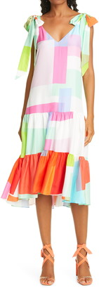 Tanya Taylor Donatella Abstract Plaid Bow Shoulder Silk Dress