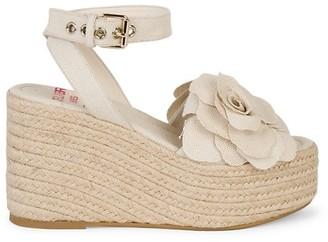 Valentino Atelier Woven Flower Espadrille Wedge Sandals