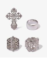 Forever 21 Antiqued Cross Ring Set