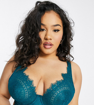 Figleaves Curve Adore high apex lace longline bra in green