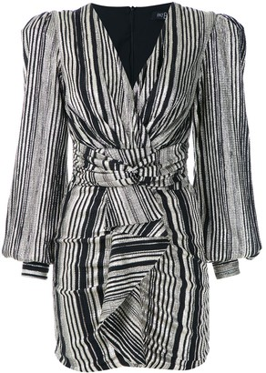 PatBO Metallic Striped Ruched Dress
