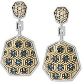 Stephen Dweck 18ct Yellow Gold and Sterling Silver with Diamonds Honeycomb Drop Earrings