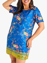 Yumi Curves Flower Border Dress, Blue