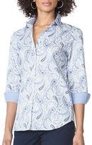 Chaps Petite Non-Iron Paisley Sateen Shirt
