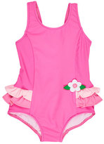 Florence Eiseman Ruffle-Trim Colorblock One-Piece Swimsuit, Pink, Size 6-24 Months