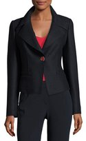 Armani Collezioni Boiled Wool One-Button Jacket, Navy