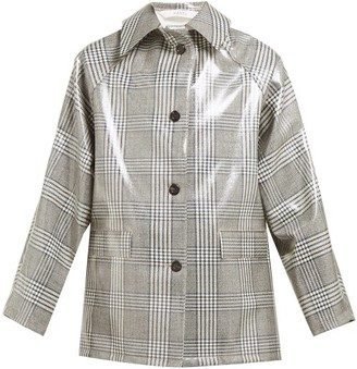 Kassl Editions Checked Lacquered Single-breasted Coat - Grey Multi