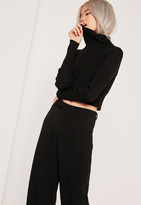 Missguided Basic Turtle Neck Long Sleeve Crop Sweater Black