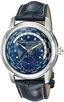 Frederique Constant Men's 'Worldtimer Manufacture' Automatic Stainless Steel and Leather Casual Watch, Color:Blue (Model: FC-718NWM4H6)