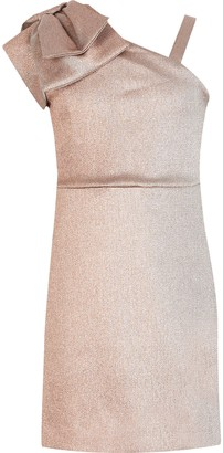 River Island Girls rose Gold one bow shoulder dress