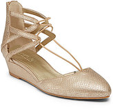 Kenneth Cole Reaction Why Not Metallic Reptile Print Bungee Lace Wedges