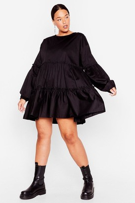 Nasty Gal Womens Tier We Come Plus Mini Dress - Black