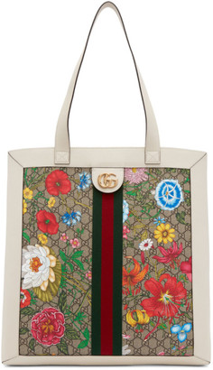 Gucci White and Multicolor GG Ophidia Flora Tote