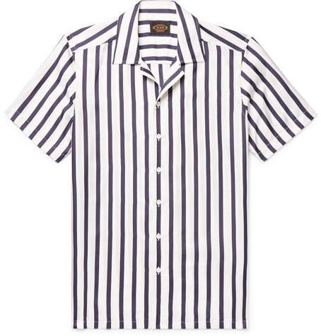 Tod's Camp-Collar Striped Silk-Twill Shirt