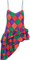 Isa Arfen The Fairy Asymmetric Printed Silk-habotai Top - Red