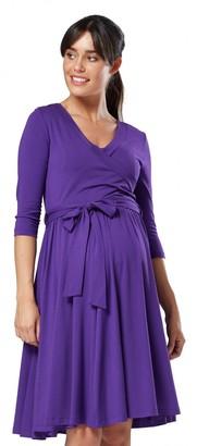 HAPPY MAMA. Women's Maternity Nursing Midi Dress Double Layer 3/4 Sleeve 609p (Black UK 12 L)