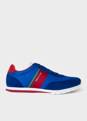 Paul Smith Men's Blue And Red 'Prince' Trainers With 'Sports Stripe' Webbing