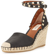 Valentino Rockstud Ankle-Wrap Espadrille Wedge, Black/Light Cuir