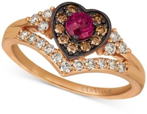 LeVian Le Vian Raspberry Rhodolite (1/3 ct. t.w.) & Diamond (1/2 ct. t.w.) Heart Halo Ring in 14k Rose Gold