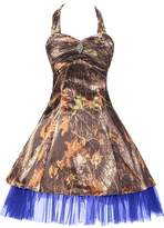 Oumans Short Halter Camouflage Cocktail Homecoming Dress Wedding Party us