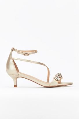 Wallis **Gold Kitten Heel Sandal
