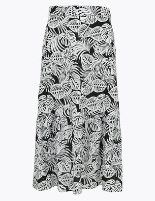 Marks and Spencer Pure Cotton Ruffle Midi Fit & Flare Skirt
