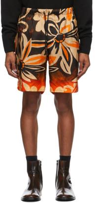 Dries Van Noten Tan and Orange Piper Shorts