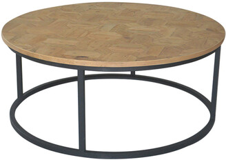 S & G Imports Round Iron And Wood Coffee Table