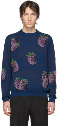 Acne Studios Navy Jacquard Raspberry Sweater