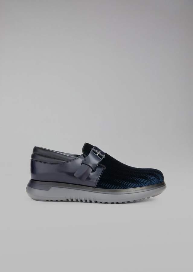 Giorgio Armani Brushed Leather And Chevron Velvet Monkstraps
