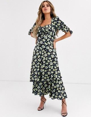 Asos Design DESIGN grunge floral maxi tea dress with tie front-Multi