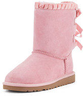 UGG Bailey Ruffle & Bow Suede Boot, Baby Pink, Youth
