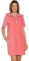 As Is Quacker Factory Beach Hoodie Cover-up with Rhinestone Half Zip