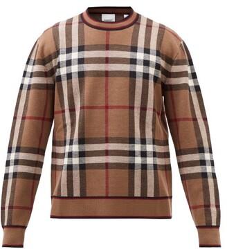 Burberry Naylor Check-intarsia Merino Wool Sweater - Brown