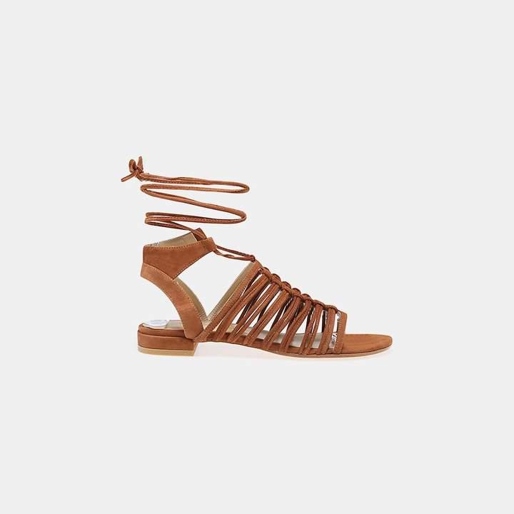 Stuart Weitzman Knotagain Suede Lace-Up Sandal