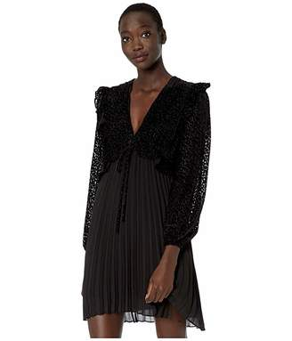 The Kooples Solid, Pleated Skirt and Laced, Long Sleeve Top in Burnout Fabric Short Dress