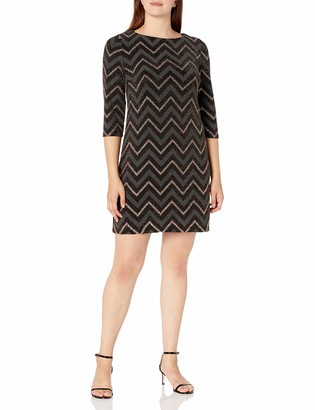 Sandra Darren Women's 1 PC Elbow Sleeve Printed Chevron Metallic Shift Dress