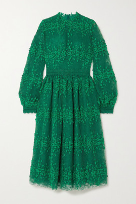 Costarellos Tasa Lace-trimmed Embroidered Tulle Dress - Green