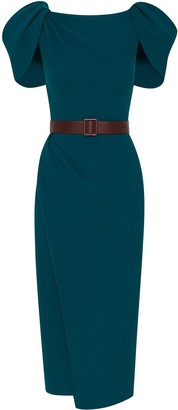 Oscar de la Renta Draped Shoulder Belted Dress