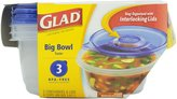Glad Ware Big Bowl Containers with Lids, Round Size, 3 ct