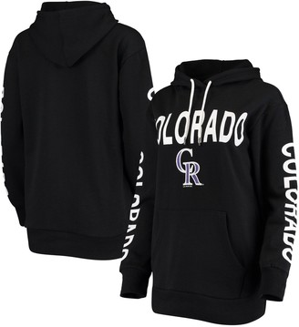 G Iii Women's G-III 4Her by Carl Banks Black Colorado Rockies Extra Inning Colorblock Pullover Hoodie