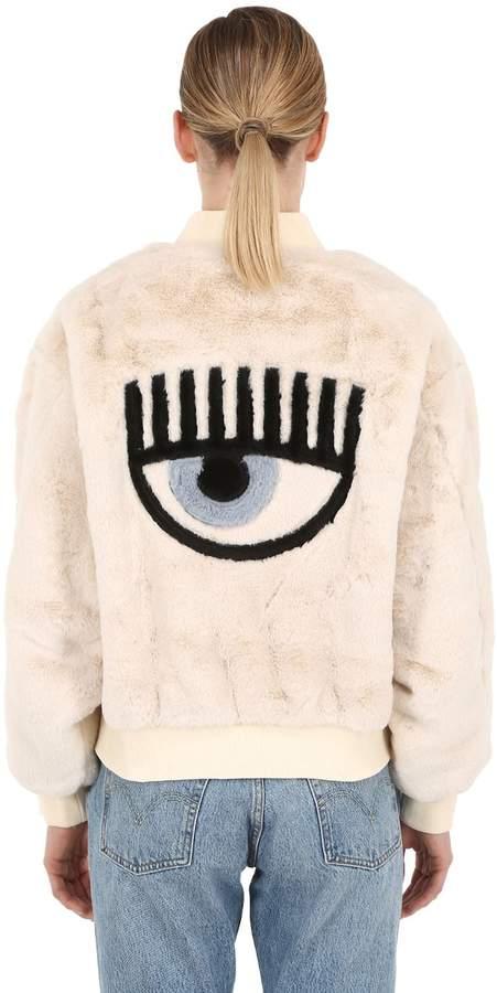Chiara Ferragni Eye Patch Faux Fur Bomber Jacket