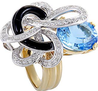18K Two-Tone 0.37 Ct. Tw. Diamond & Gemstone Ring