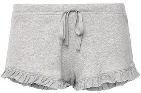 Skin Raffaela Ruffle-trimmed Ribbed Pima Cotton-jersey Pajama Shorts