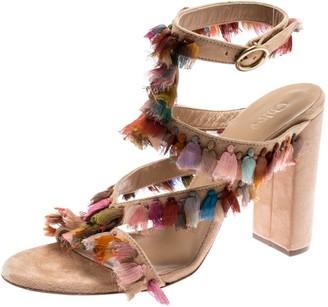 Chloé Multicolor Silk Tassel Liz Block Heel Ankle Cuff Peep Toe Sandals Size 36