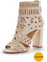Very Martinique Laser Cut Block Heel Sandal - Nude