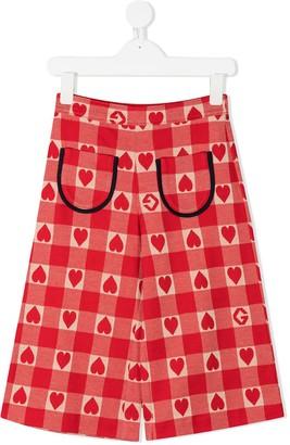 Gucci Kids Heart Check Wide-Leg Trousers