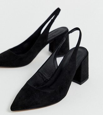 ASOS DESIGN Wide Fit Samson slingback mid heels in black