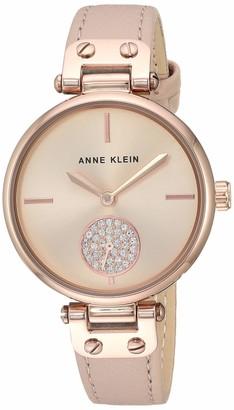 Anne Klein Women's AK/3381GYWT Swarovski Crystal Accented Silver-Tone and White Leather Strap Watch