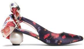 Mother of Pearl Bow-detailed Floral-print Satin Slingback Pumps